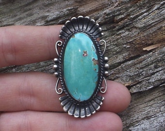 Native American Sterling Silver Ring with Large Turquoise Stone