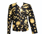 SALE// VTG 80's Age of Aquarius Golden Zodiac Quilted Blazer (Medium / Large) Astrology Signs and Stars Light Jacket
