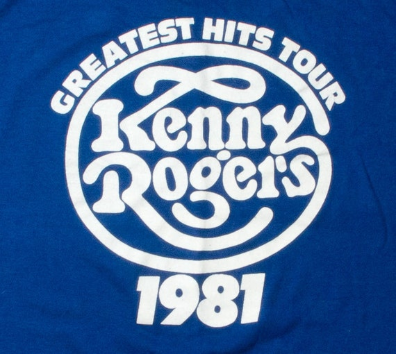 VTG 80's Bright Blue Kenny Rogers Greatest Hits Tour 1981 T-Shirt (Medium / Large) Unisex Soft & Thin Rock Concert Tee