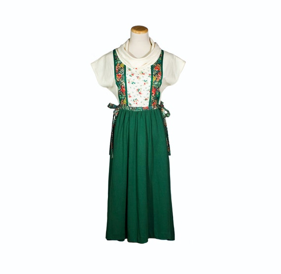 VTG 70's Forest Green and Cream Cowl Neck Dress (Small / Medium / Large) Short Sleeve