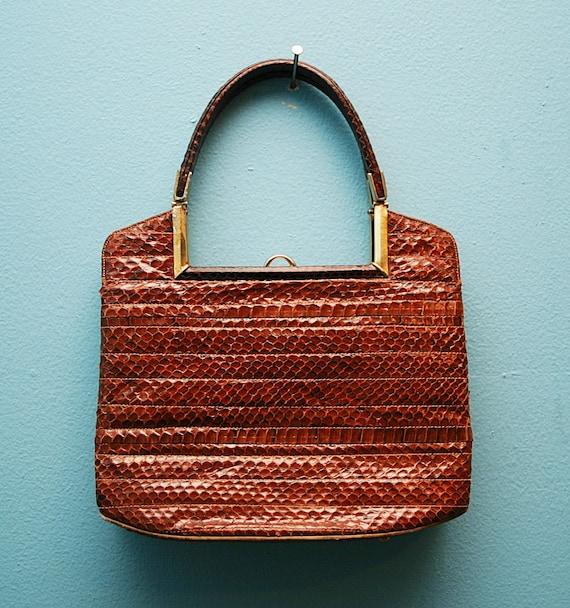 VTG 60's Brown SNAKESKIN Handbag Purse by ROSENFELD