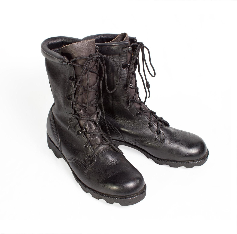 vtg 90 s grunge black leather rock combat boots mens