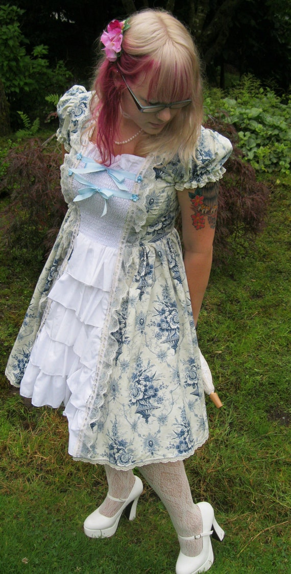 Blue, White and Cream Sweet Lolita Floral Dress