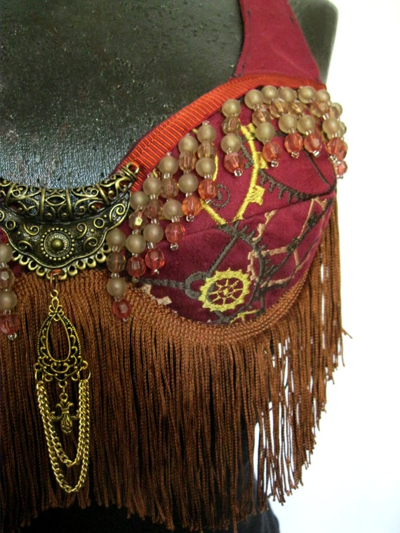CLEARANCE SALE Handmade Embroidered Steampunk Tribal Bellydance Top