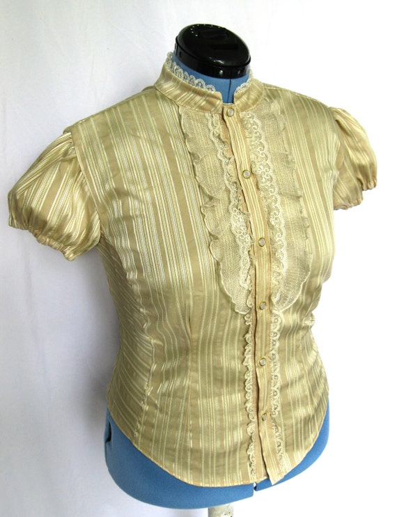 Golden Tan Lace Ruffle Blouse
