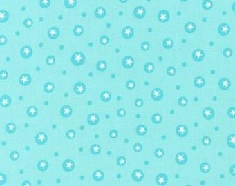 SALE - Organic Cotton Little One  Line in Aqua Dot and Star  by Katie Hennagir for Robert Kaufman- 1 Yard
