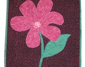 Quilted Applique Wall Hanging in Batik Flower