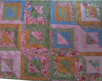 Lap or Throw Quilt in Pastel Floral Fabrics