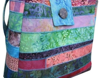 Purse in Multiple Batik Jewel Tones