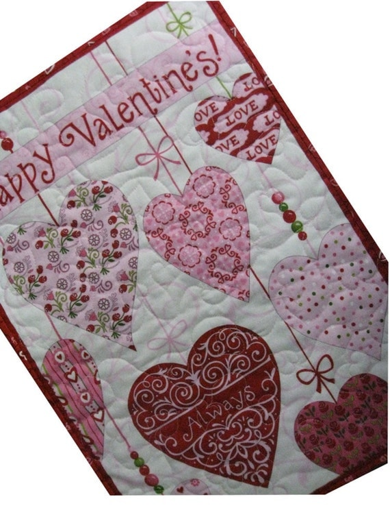 Quilted Happy Valentine Wall Hanging or Table Runner