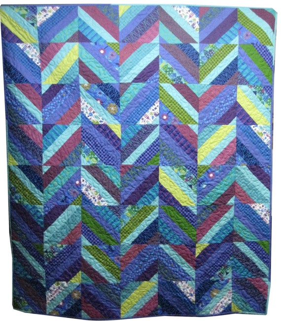 Throw Quilt in Blues and Purples Modern Home Decor