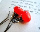 Earrings Orange Chalcedony on Oxidized Fine Silver, Orange Punch