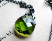 Handmade Necklace Olivine Swarovski on Oxidized Sterling Silver Handmade, Moss