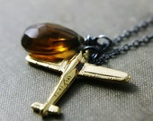 Airplane Necklace Whiskey Quartz Brass Charm Oxidized Sterling Silver Under 50 Gifts
