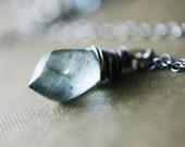 Moss Vial Necklace, Sage Green Aquamareine on Sterling Silver