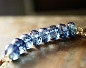 SALE Blue Stone Necklace Quartz Gold Pendant
