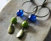 SALE 20% Off Spring Break Lonely Island Earrings Czech Glass Brass
