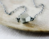 SALE 20% Off Spring Break Meteor Handmade Pyrite Geometric Nugget on Oxidized Sterling Silver Fools Gold