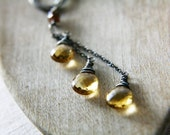 ON SALE Helios Necklace AAA Microfaceted Citrine Quartz Briolettes on Oxidized Sterling Silver Hoop polestar