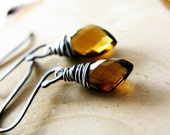 Moth Wing Earrings Cognac Whiskey Colored Quartz Oxidized Sterling Silver