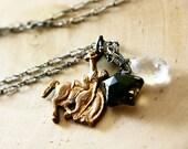 Lone Star Horse Necklace Champagne Quartz, Smoky Brown Star Brass Cowboy Charm Fashion