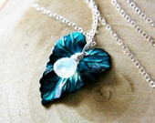 RESERVED Night Dew Necklace AA Rainbow Moonstone on Verdigris Brass Leaf with Sterling Silver