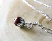 June Birthstone Pearl Necklace Dark Red Cranberry  Freshwater Pearl Sterling Silver Fashion Under 25