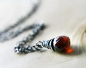 January Garnet Necklace Wire Wrapped Petite red Drop Sterling Silver Fall Fashion Fall Fashion