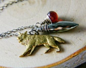 Big Bad Wolf Necklace Silver Garnet Pyrite Fairy Tale Pendant