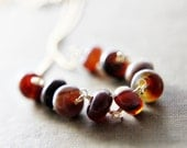 Agate Gold Necklace Gold Red Brown Earth Tones Pendant Rust Autumn Fall