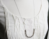 Jewelry  Glass Necklace Silver Long Beaded Minimalist Simplistic