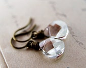 Taupe Crystal Earrings Wire Wrapped Swarovski Beige Brass Silver Shade Dainty Jewelry Under 25 Fashion