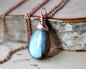 Labradorite Rose Gold Wire Wrap Necklace Blue Flash Stone Fashion Under 100 for Women Sodalite