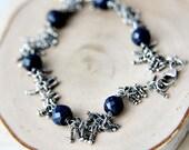 Sapphire Bracelet Gemstone Jewelry Sterling Silver Wire Wrapped Fringe Oxidized Blue Sodalite Sapphire Midnight Fashion
