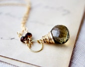 Olive Necklace Gemstone Jewelry Brown Green Gold Pendant PoleStar