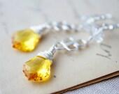 Yellow Chandelier Earrings Silver Crystal Dangle PoleStar Sunshine Summer