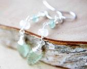 Leaf Earrings Gemstone Jewelry Silver Moonstone Spring Fashion Dangle