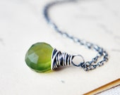 Green Gemstone Necklace Chalcedony Oxidized Sterling Silver Spring Fashion Under 50