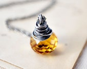 Honey Drop Necklace Citrine Yellow Silver