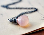 Rose Pink Necklace Chalcedony Silver