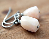 Shell Earrings Pink Opal Sterling Silver Oxidized October Birthstone Easter Pastel Fashion