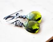 Green Crystal Earrings Silver Grass Dangle PoleStar