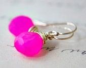 Earrings Jewelry  Hot Pink Earrings Gold Chalcedony Neon Dangle