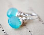 Sky Blue Earrings Chalcedony Stone Wire Wrapped Sterling Silver Dangle Aqua Pastel Neon