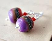 Glass Earrings Orange Purple Boho Silver Dangle