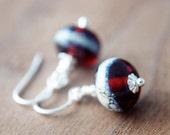 SALE Burgundy Glass Earrings  Lampwork Silver Dangle Oxblood PoleStar