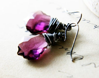 Amethyst Earrings, Swarovski Crystal, Crystal Earrings, Sterling Silver, Purple Earrings, Dangle Earrings, Drop Earrings