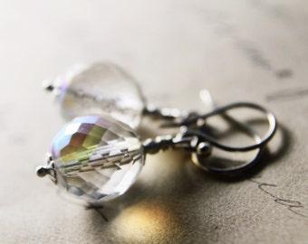 Glass Drop Earrings Glass Dangles Silver Bridal Dangle PoleStar