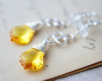 Yellow Chandelier Earrings Silver Crystal Dangle PoleStar Sunshine Summer