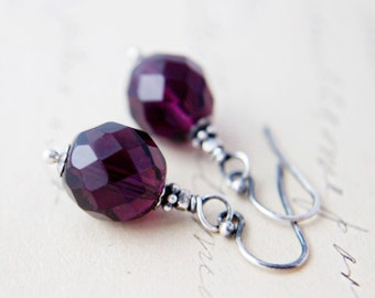 Amethyst Glass Earrings, Glass Earrings, Dangle Earrings, Purple Glass, Czech Glass, February Birthstone, Sterling Silver, Drop Earrings